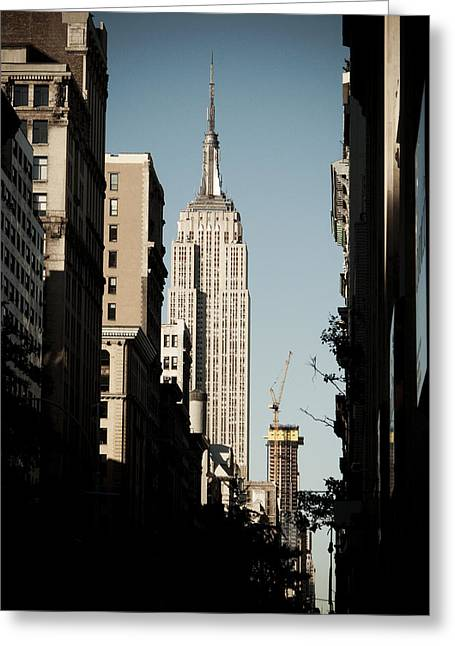 Yellow Dog And Truck Greeting Cards - Empire State Greeting Card by Darren Martin