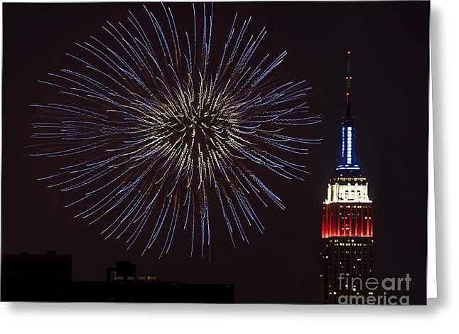 July 4th Greeting Cards - Empire State Fireworks Greeting Card by Susan Candelario