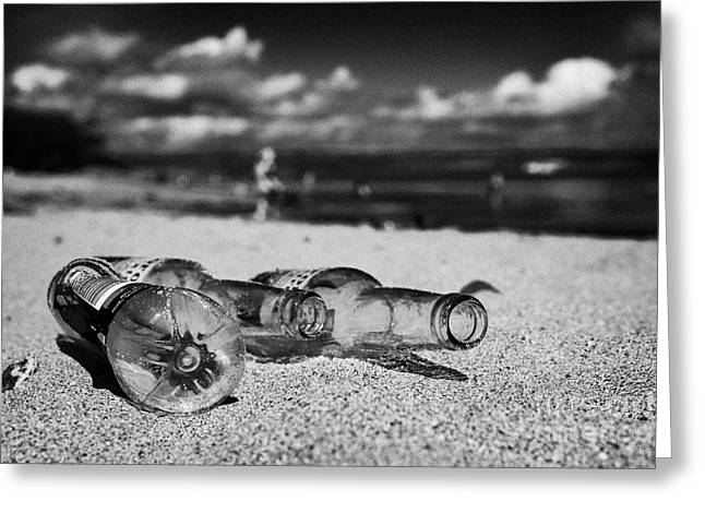 Plastic Bottle Greeting Cards - Empty Beer Bottles And Plastic Bottle Discarded Littering A Beach In County Down Northern Ireland Greeting Card by Joe Fox