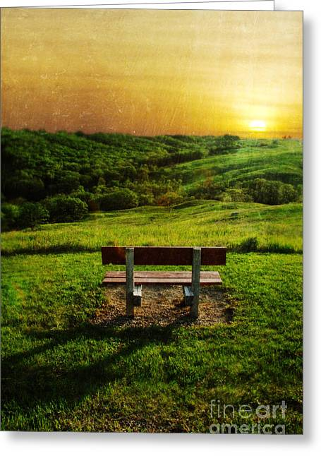 Empty Bench Greeting Cards - Empty Bench with a View in the Countryside at Sunset Greeting Card by Jill Battaglia