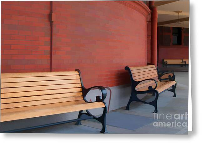 Wood Bench Greeting Cards - Empty Benches Greeting Card by Noel Zia Lee