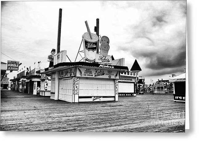 Down The Shore Greeting Cards - Empty Boardwalk Greeting Card by John Rizzuto