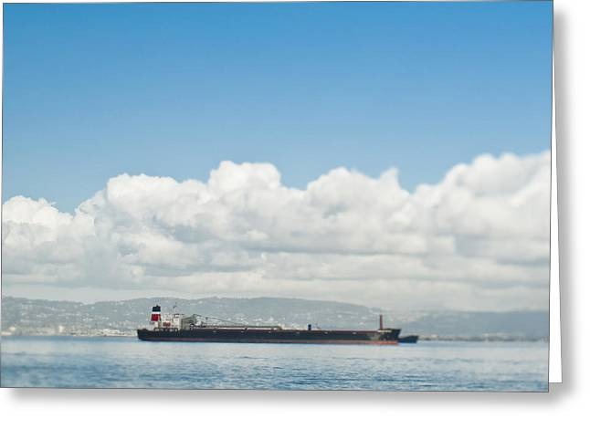 Seagoing Greeting Cards - Empty Cargo Ship on the Water Greeting Card by Eddy Joaquim