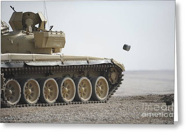 Iraqi Army Greeting Cards - Empty Casings Eject From An Iraqi T-72 Greeting Card by Stocktrek Images