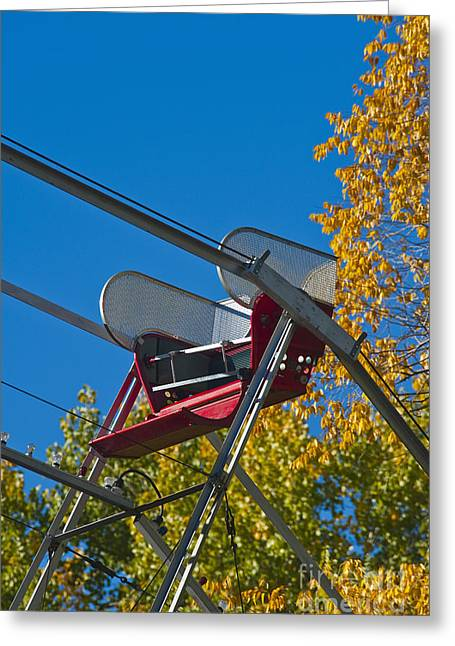 Recently Sold -  - Not In Use Greeting Cards - Empty chair on Ferris Wheel Greeting Card by Thom Gourley/Flatbread Images, LLC