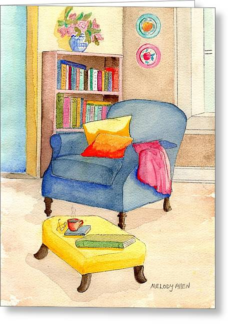 Foot Stool Greeting Cards - Empty Chair Series 1 Greeting Card by Melody Allen