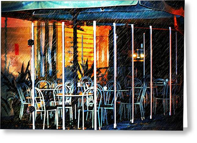 Empty Chairs Greeting Cards - Empty Chairs And Empty Tables Greeting Card by Georgiana Romanovna