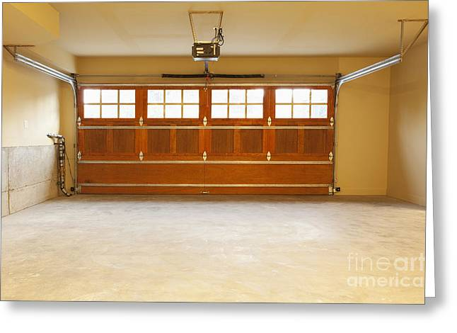 Go Home Greeting Cards - Empty Garage with Electric Garage Door Greeting Card by Don Mason