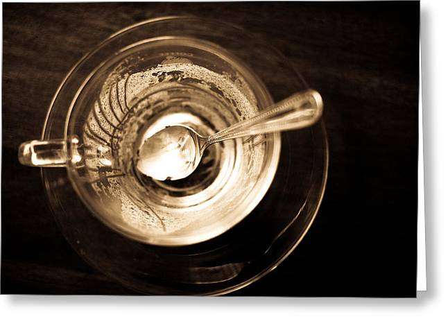 Coffee Drinking Greeting Cards - Empty glass of cappuccino Greeting Card by Krit Kaewhawong