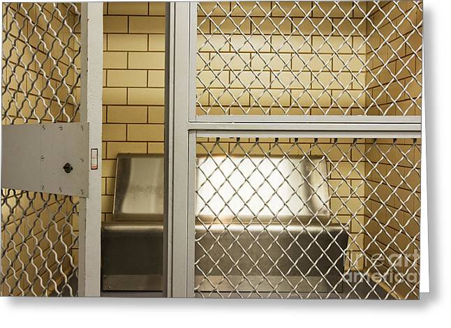 Empty Jail Holding Cell Greeting Card by Jeremy Woodhouse