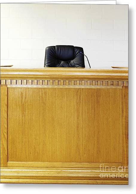 Legal System Greeting Cards - Empty Judges Bench Greeting Card by Skip Nall