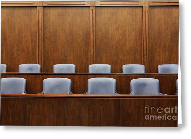 Jury Greeting Cards - Empty Jury Seats in Courtroom Greeting Card by Jeremy Woodhouse