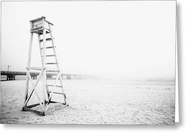 Foggy Beach Greeting Cards - Empty Life Guard Tower 2 Greeting Card by Skip Nall