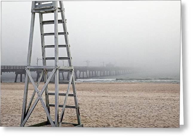 Foggy Beach Greeting Cards - Empty Lifeguard Chair Greeting Card by Skip Nall