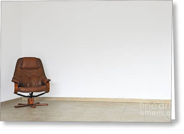 Office Chair Greeting Cards - Empty office chair in empty room Greeting Card by Sami Sarkis