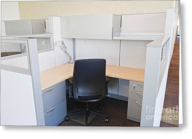 Cubicle Greeting Cards - Empty Office Cubicle Greeting Card by Jetta Productions, Inc