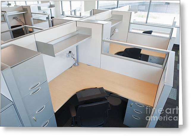Cubicle Greeting Cards - Empty Office Cubicles Greeting Card by Jetta Productions, Inc