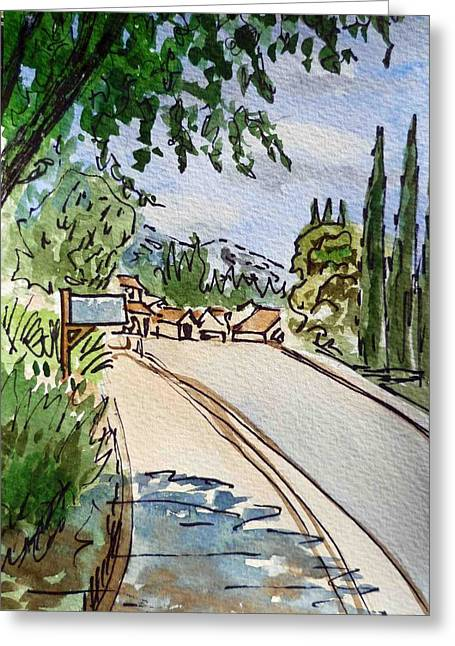 Sketch Greeting Cards - Empty Road Sketchbook Project Down My Street Greeting Card by Irina Sztukowski