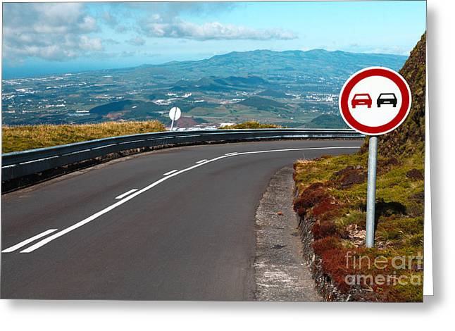 Mountain Road Greeting Cards - Empty road with turn Greeting Card by Gaspar Avila