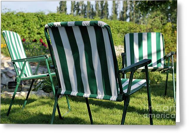 Lawn Chair Greeting Cards - Empty seats on garden lawn Greeting Card by Sami Sarkis