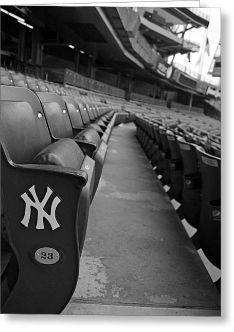 Yankee Stadium Greeting Cards - Empty Stadium Greeting Card by Michael  Albright