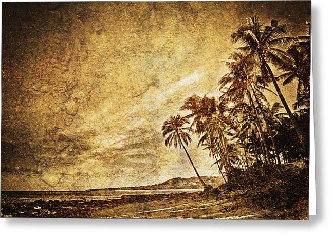 Brown Toned Art Greeting Cards - Empty Tropical Beach 3 Greeting Card by Skip Nall