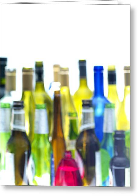 Coloured Glass Greeting Cards - Empty Wine And Beer Bottles Greeting Card by Tek Image