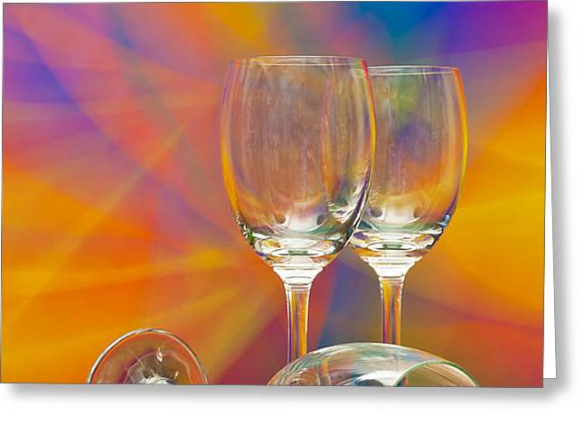 empty wine glass Greeting Card by Anuwat Ratsamerat