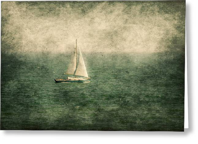 Sailboat Ocean Mixed Media Greeting Cards - Empty Yacht  Greeting Card by Svetlana Sewell