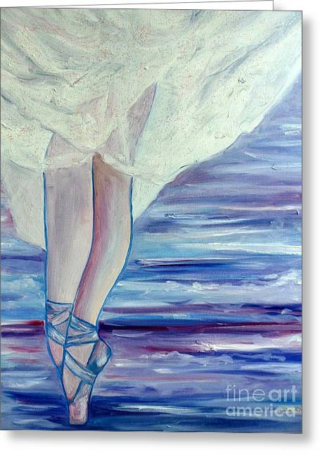 Satin Skirt Greeting Cards - En Pointe Greeting Card by Julie Brugh Riffey