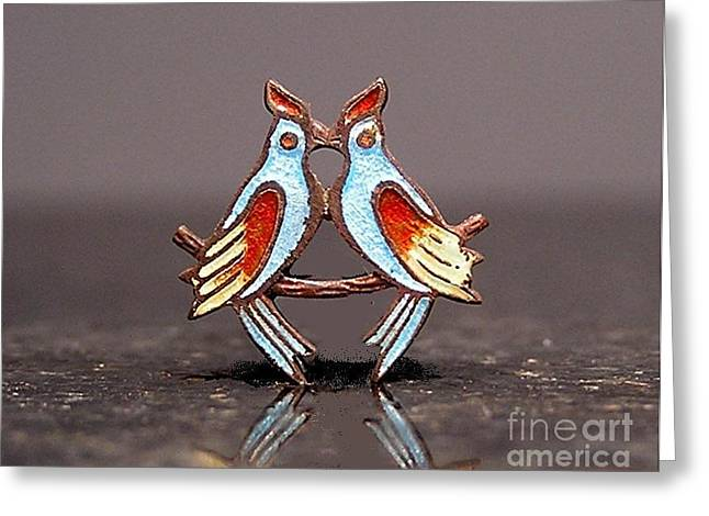 Birds Jewelry Greeting Cards - Enamels 232 Greeting Card by Dwight Goss