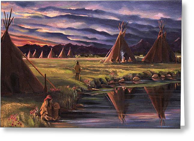 Lakota Greeting Cards - Encampment at Dusk Greeting Card by Nancy Griswold