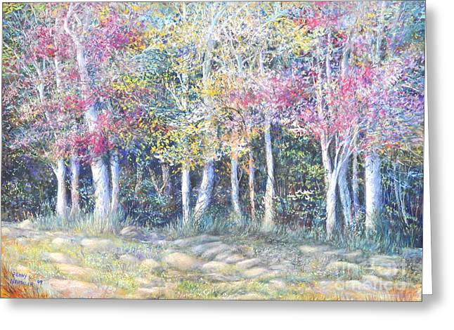 Birch Tree Pastels Greeting Cards - Enchanced Tree Pageant Greeting Card by Penny Neimiller