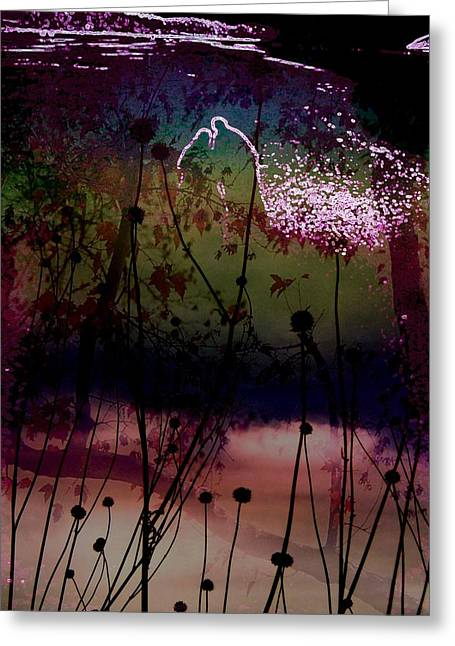 Dark Blue Greeting Cards - Enchanted by the Light 1 Greeting Card by Shirley Sirois