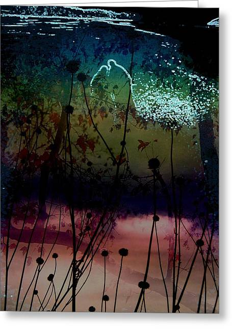 Dark Blue Greeting Cards - Enchanted by the Light 2 Greeting Card by Shirley Sirois