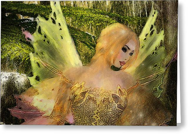 Enchanted Forest - Fae of the Forest Waters Greeting Card by Rosy Hall