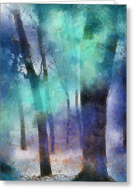 Fantasy World Greeting Cards - Enchanted Forest. Painting with Light Greeting Card by Jenny Rainbow