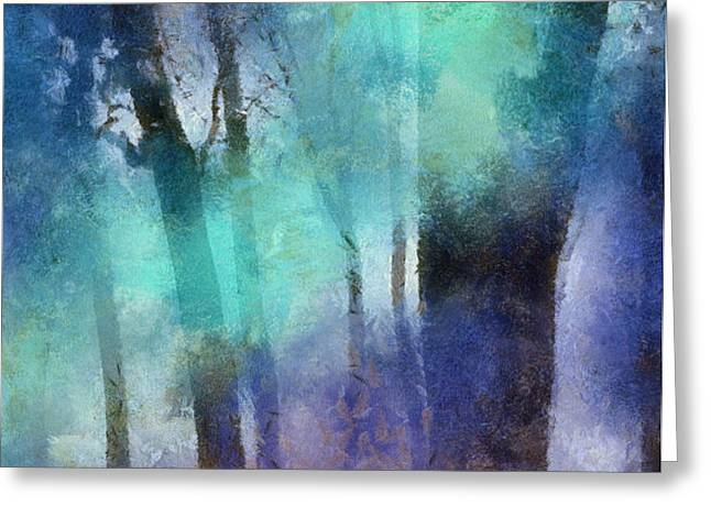 Enchanted Forest. Painting with Light Greeting Card by Jenny Rainbow