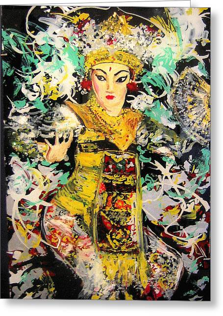 Elegant Glass Art Greeting Cards - Enchanted Legong Dancer of Bali Greeting Card by Ferril Nawir