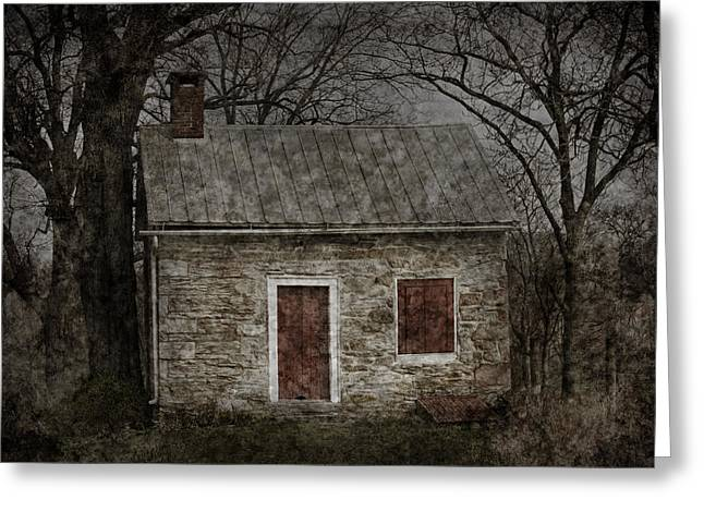 Sullen Greeting Cards - Enchanted Moonlight Cottage Greeting Card by John Stephens