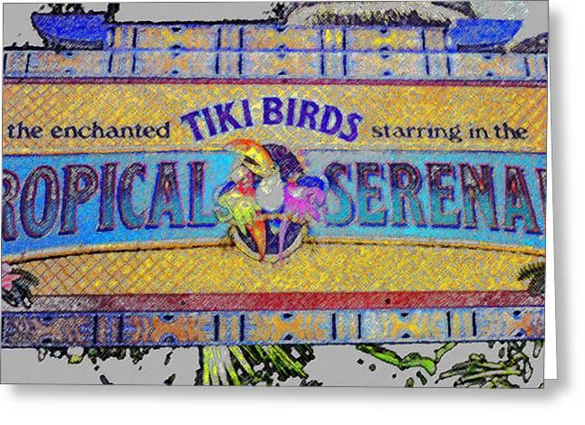 Majic Greeting Cards - Enchanted Tiki Birds Greeting Card by David Lee Thompson