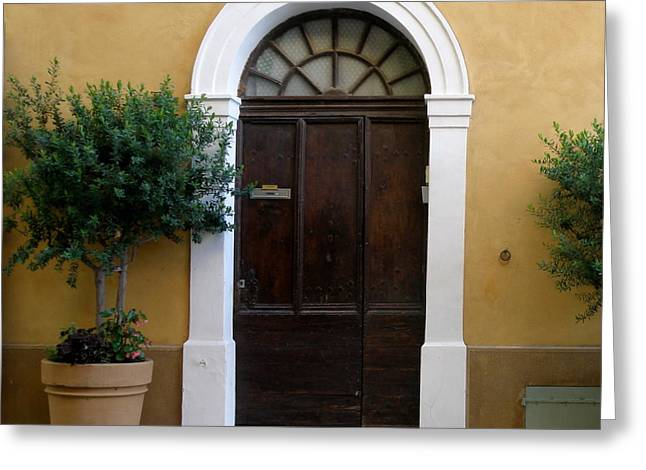 Provence Village Greeting Cards - Enchanting Door Greeting Card by Lainie Wrightson