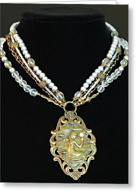 Victorian Jewelry Greeting Cards - Enchanting Lady Choker Necklace Greeting Card by Renee Hong