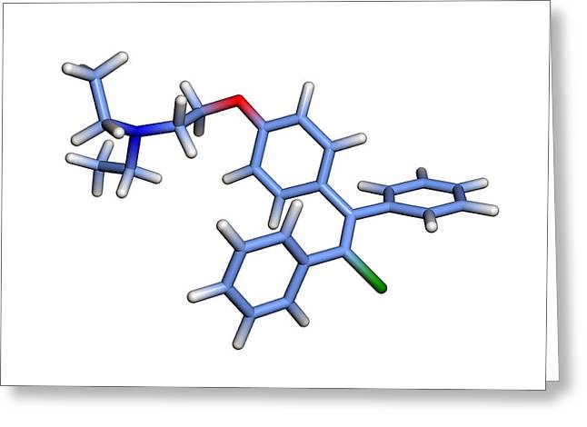 Infertility Greeting Cards - Enclomifene Infertility Drug Molecule Greeting Card by Dr Tim Evans