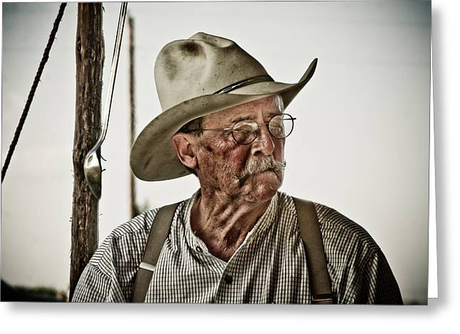 Cowboy Photographs Greeting Cards - End of a long day on the trail Greeting Card by Toni Hopper