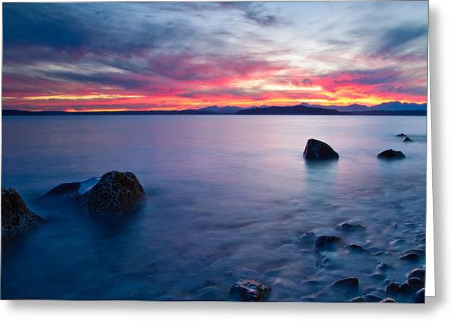 Beach At Night Greeting Cards - End of day at Alki Beach Greeting Card by Dan Mihai