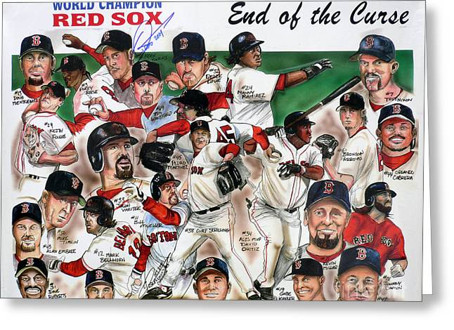 Red Sox Drawings Greeting Cards - End Of The Curse Red Sox newspaper poster Greeting Card by Dave Olsen