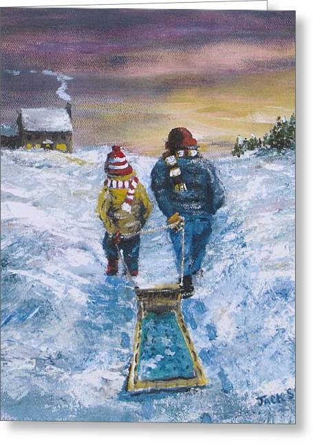 Tobogganing Greeting Cards - End of the Day Greeting Card by Jack Skinner