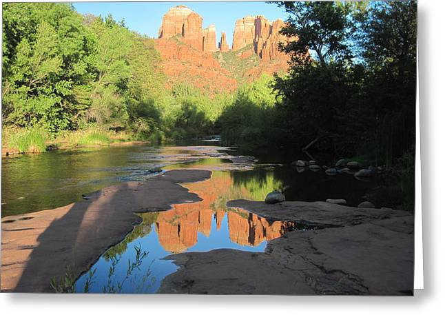 Cathedral Rock Greeting Cards - End of the Day Greeting Card by Sandy Tracey