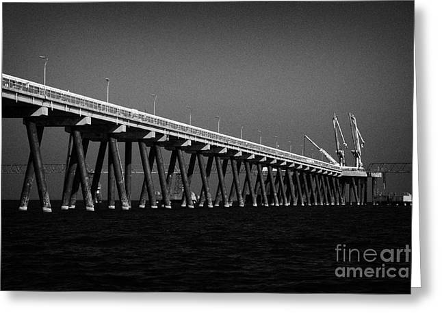 end of the jetty at cloghan point oil terminal in belfast lough northern ireland uk Greeting Card by Joe Fox
